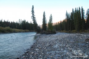 Der Bow River neben dem Lake-Louise-Campground